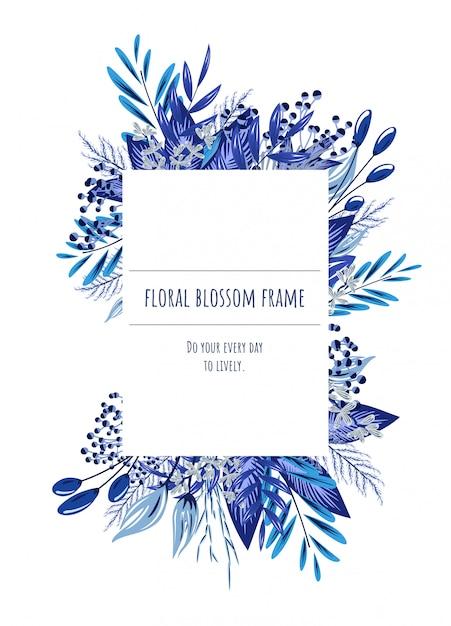 El Marco Floral Azul Para Tarjetas De Invitación Y Gráficos