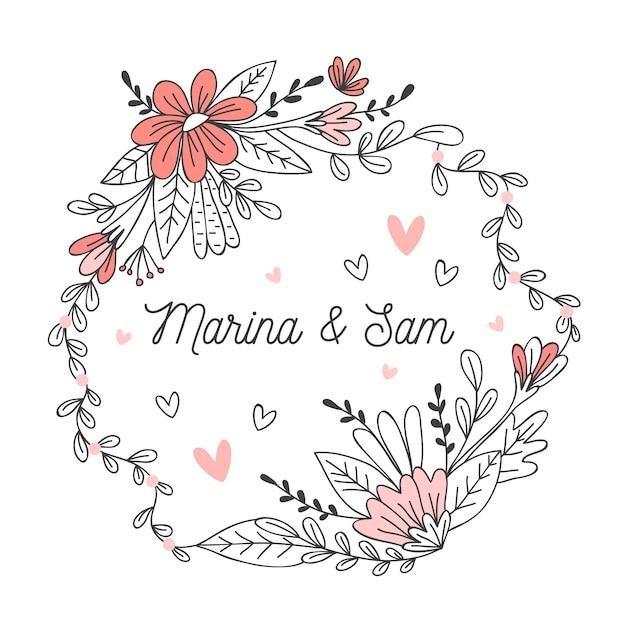 Marco floral de boda vector gratuito