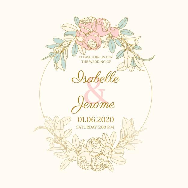 Marco floral colorido de la boda vector gratuito