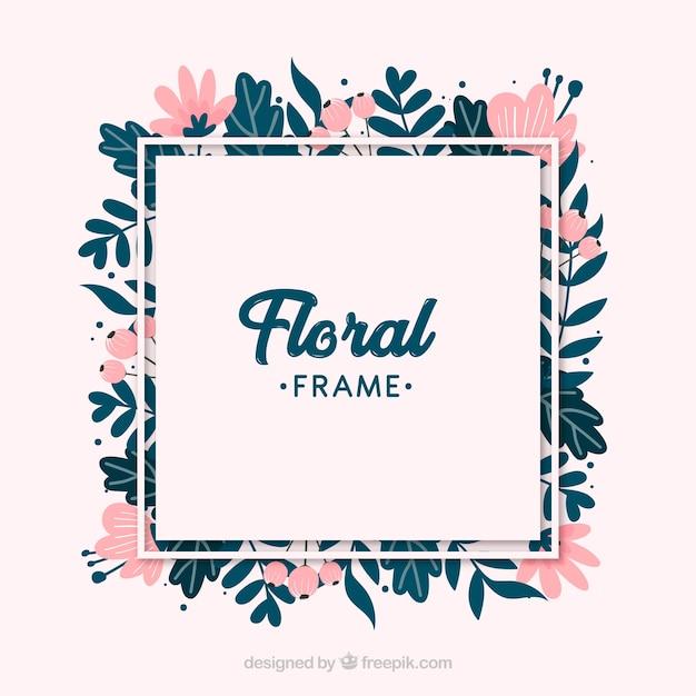 Marco floral colorido en estilo hecho a mano | Descargar Vectores gratis