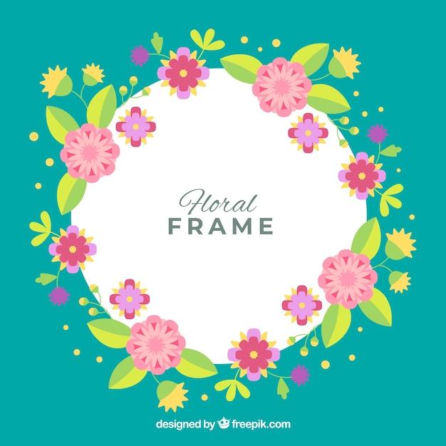 Marco floral colorido en estilo plano | Descargar Vectores gratis
