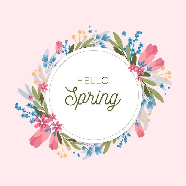 Marco floral colorido primavera plana vector gratuito