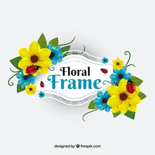 Marco floral con vegetación en estilo realista   Descargar Vectores ...