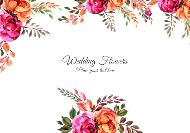 Marco floral decorativo de aniversario de boda vector gratuito