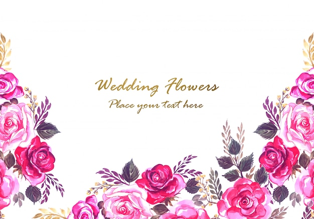 Marco floral decorativo hermoso aniversario de boda vector gratuito