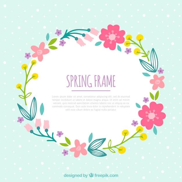 Marco floral dibujado a mano para primavera vector gratuito