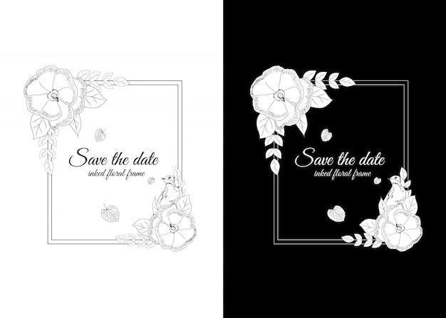 Marco floral entintado en blanco y negro con golondrinas. Vector Premium