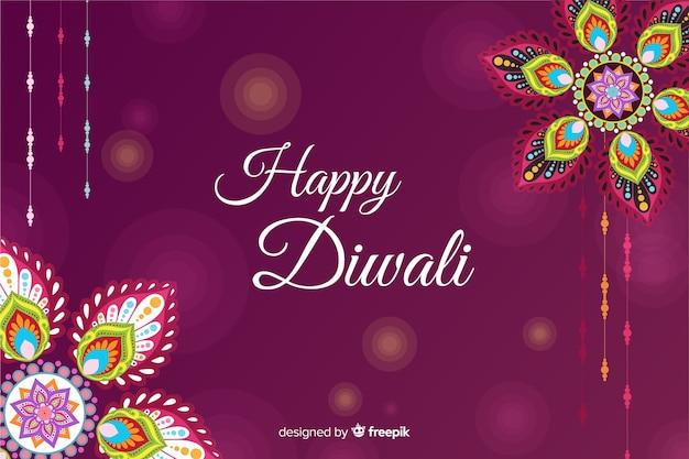 Marco floral para evento de diwali en diseño plano vector gratuito