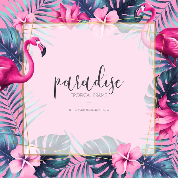 Marco floral exótico con naturaleza rosa y flamenco. vector gratuito