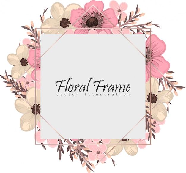 Marco floral con flores de colores. vector gratuito