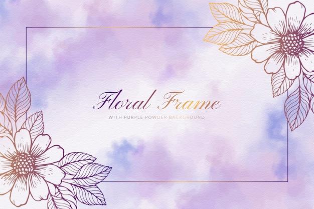 Marco floral con fondo de polvo púrpura Vector Premium