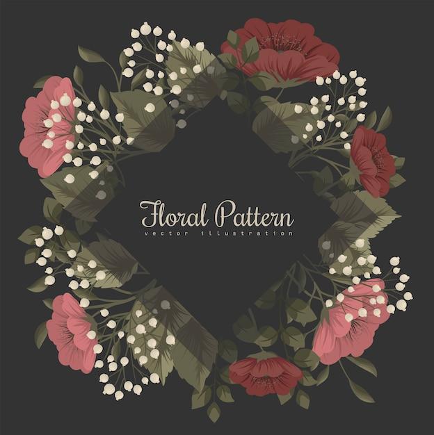 Marco floral oscuro con flores rojas y blancas vector gratuito