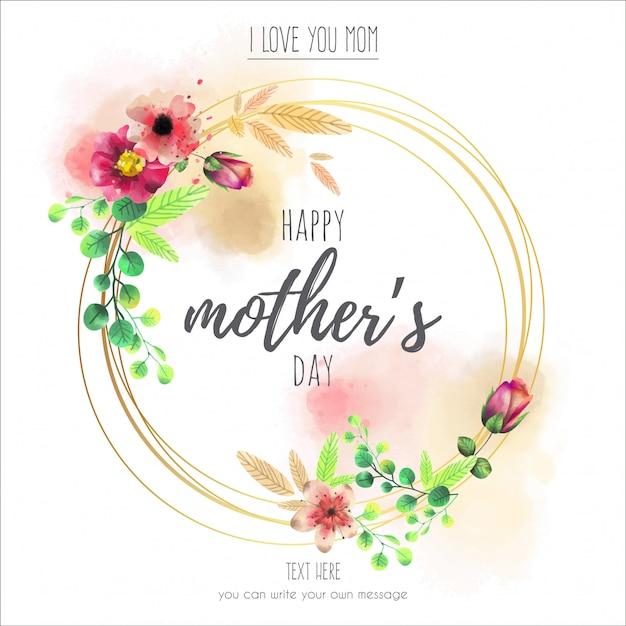 Marco floral para el feliz día de la madre | Descargar Vectores Premium