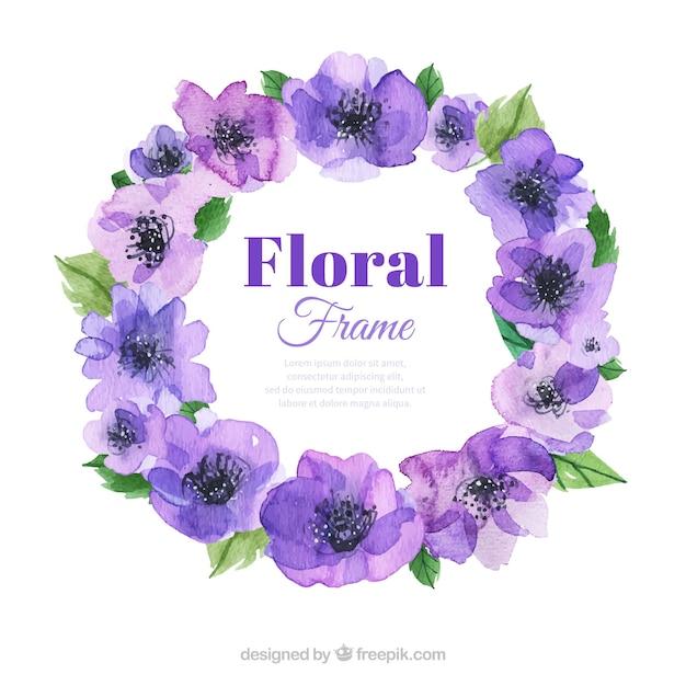 Marco floral de primavera en acuarela   Descargar Vectores gratis