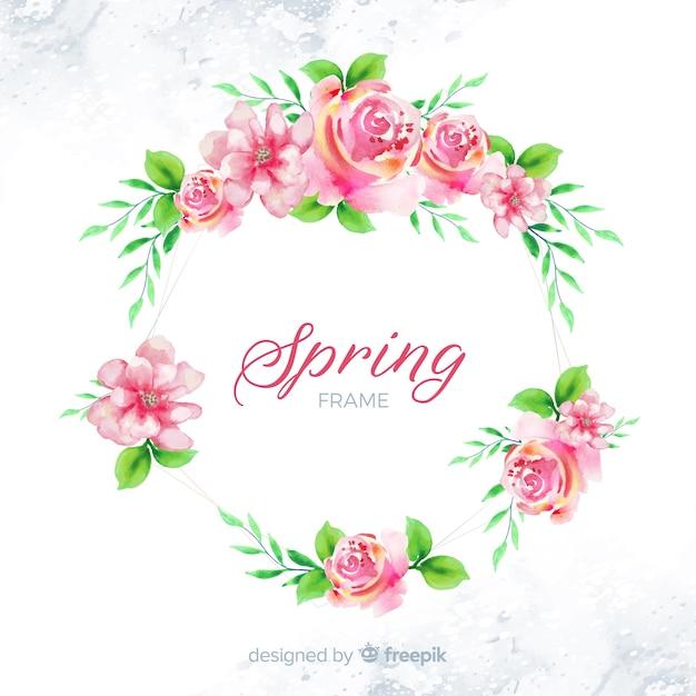 Marco floral de primavera en acuarela vector gratuito