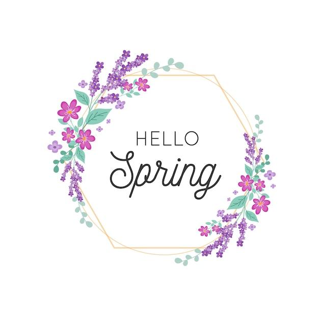 Marco floral de primavera con detalles dorados vector gratuito