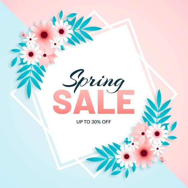 Marco floral primavera plana con flores vector gratuito
