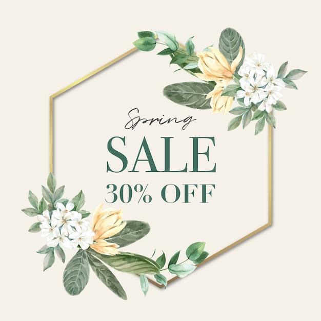 Marco floral de primavera de ventas. vector gratuito