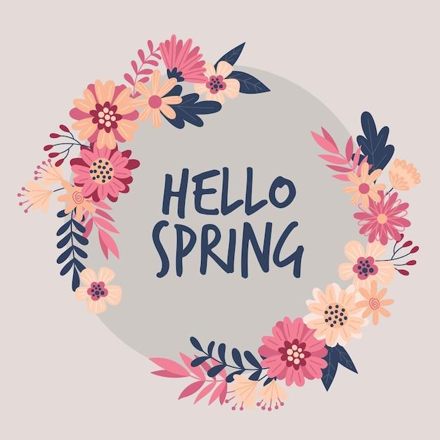 Marco floral de primavera vector gratuito