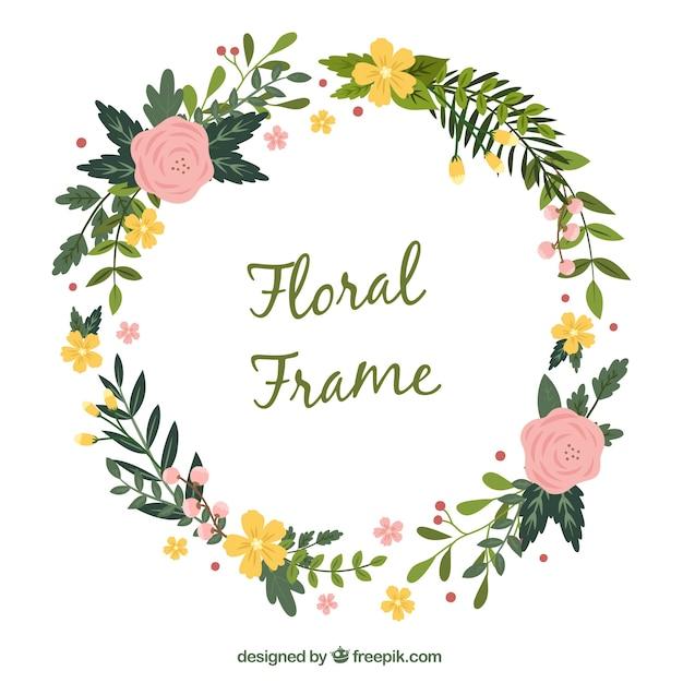 Marco floral redondo con bonitas flores | Descargar Vectores gratis