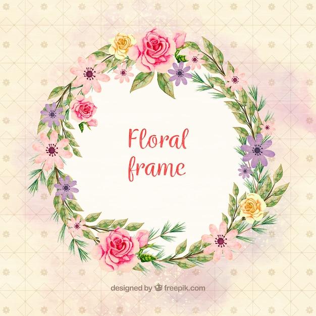 Marco floral redondo con distintas flores de acuarela | Descargar ...