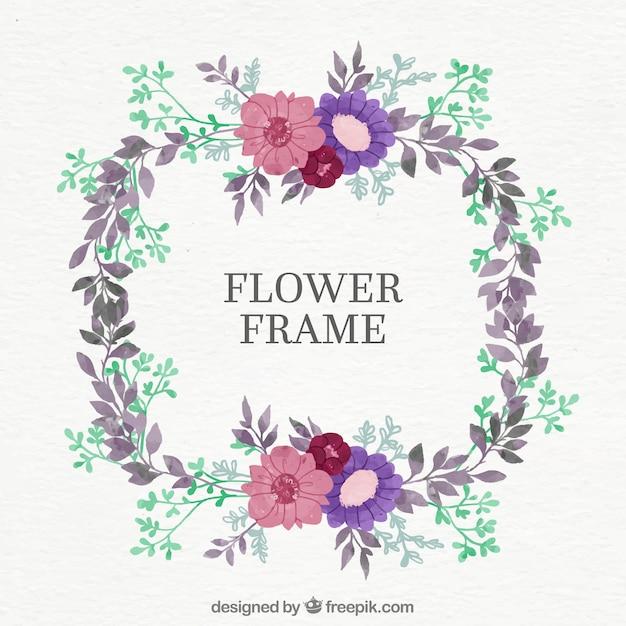 Marco floral redondo con flores rosas y púrpuras | Descargar ...