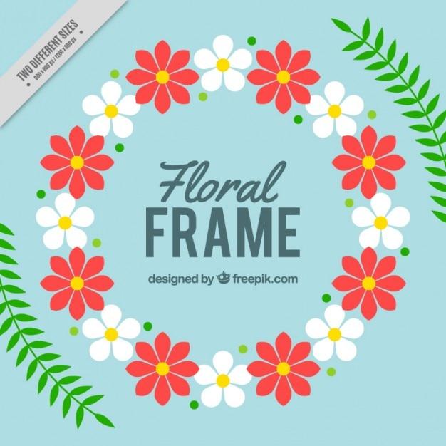 Marco floral redondo con hojas | Descargar Vectores gratis