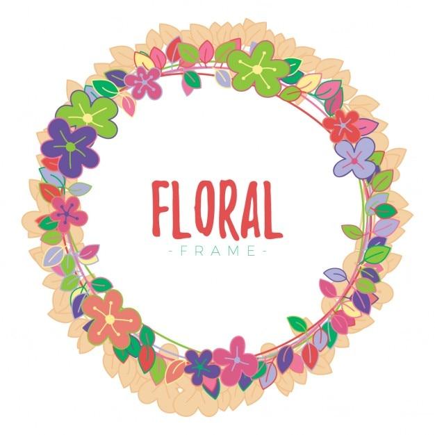 Marco floral redondo sobre un fondo blanco | Descargar Vectores gratis