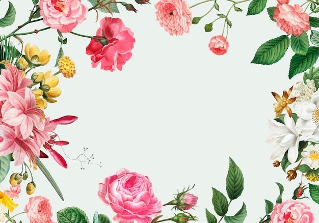 Marco floral rosa vector gratuito
