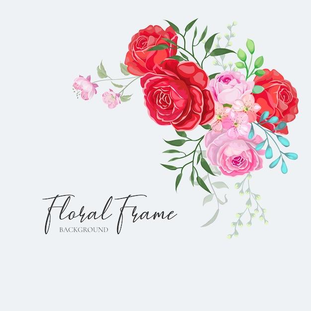 Marco floral tarjeta de invitación de boda diseño vector rosa roja Vector Premium