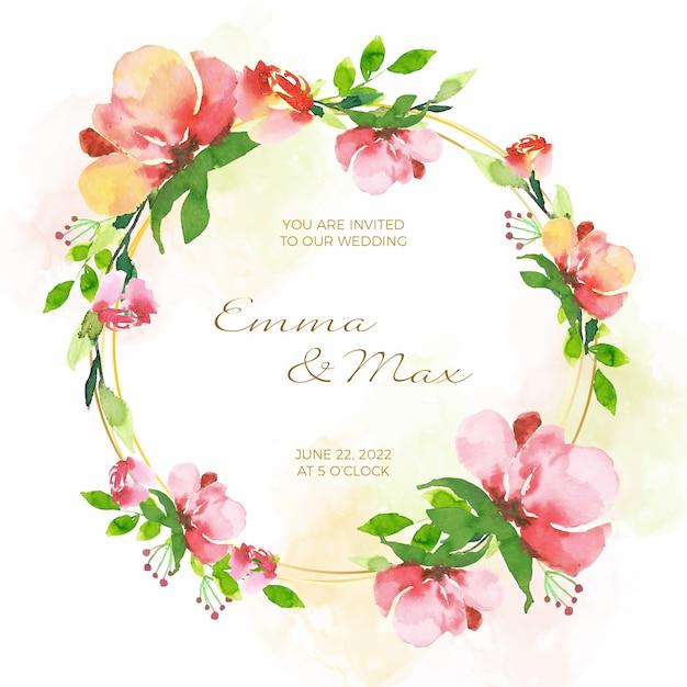 Marco floral de la tarjeta de invitación de boda vector gratuito