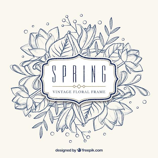 Marco floral vintage primavera Vector Gratis