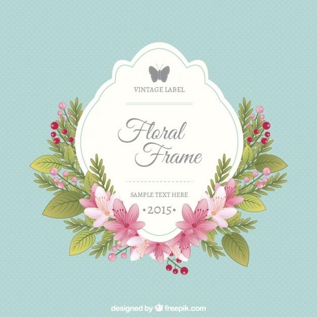 Marco floral y la etiqueta vintage | Descargar Vectores gratis