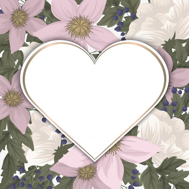 Marco de flores de amor - día de san valentín vector gratuito