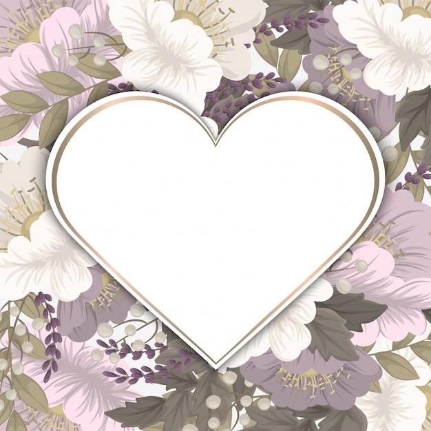 Marco de flores de amor vector gratuito