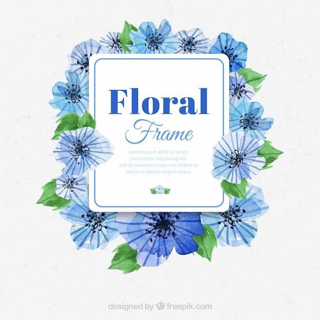 Marco De Flores Azules De Acuarela Descargar Vectores Gratis