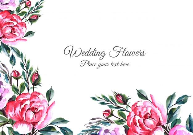 Marco de flores encantadoras con plantilla de tarjeta de widding vector gratuito