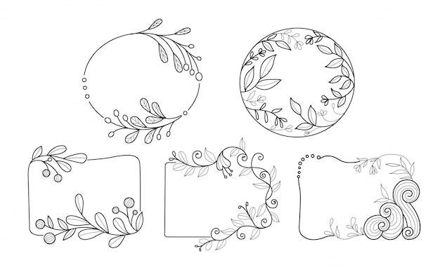 Marco de flores minimal dibujado a mano Vector Premium