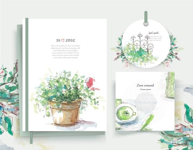 Marco de flores vintage floral tarjeta de felicitación en estilo acuarela. Vector Premium