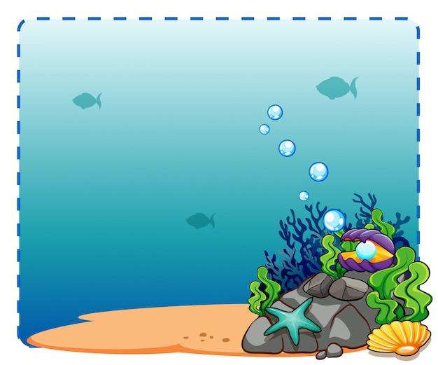 Marco de los fondos marinos vector gratuito