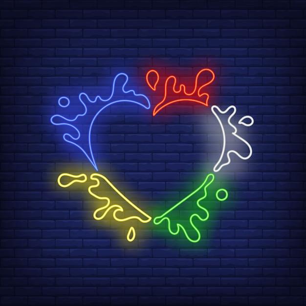 Marco en forma de corazón abstracto con salpicaduras de pintura letrero de neón vector gratuito