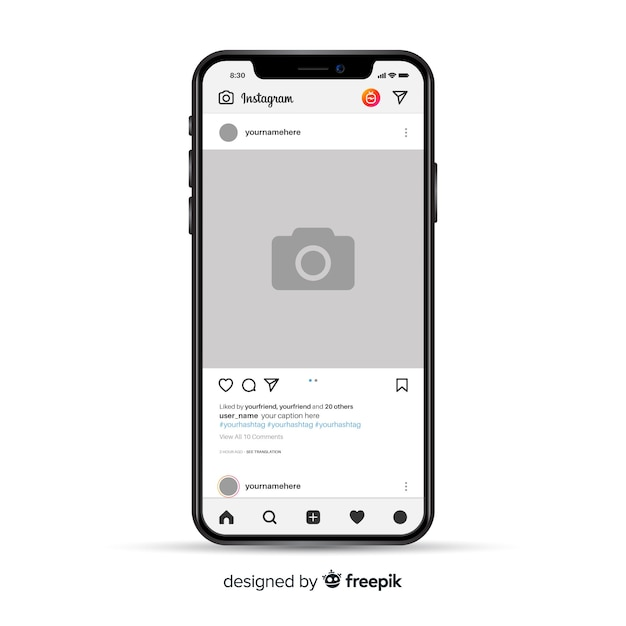 Marco de foto de instagram realista en iphone vector gratuito