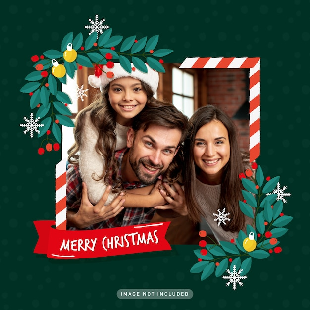 Marco de fotos de felicitación navideña vector gratuito