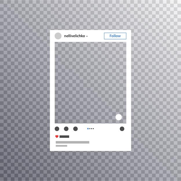 Marco de fotos inspirado para compartir amigos en internet. social media photo frame publicar en una red social. Vector Premium
