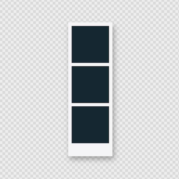 Marco de fotos polaroid triple vector gratuito