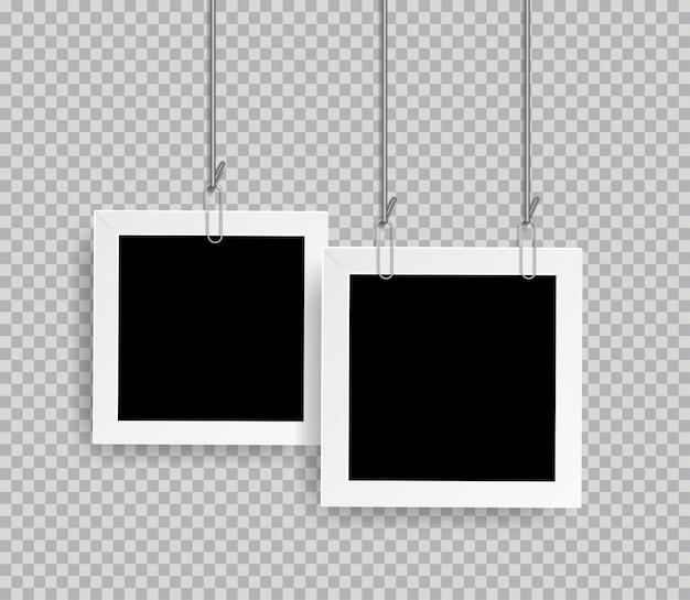 Marco de fotos realista retro con clip aislado sobre fondo transparente Vector Premium