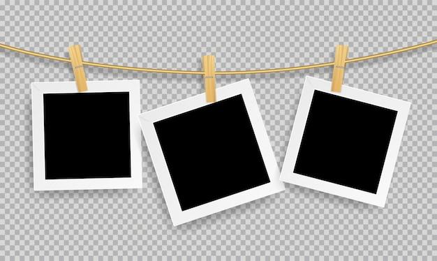 Marco de fotos realista retro con clip de madera Vector Premium