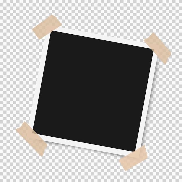 Marco de fotos con sombra con cinta adhesiva Vector Premium