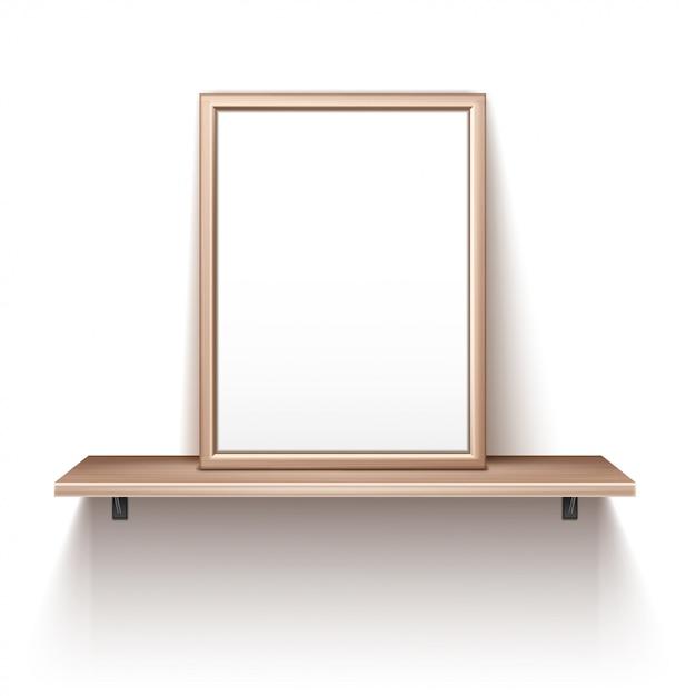 Marco de fotos vacío de pie en el estante de madera vector gratuito