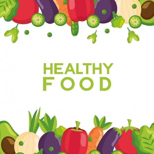 Marco fresco de alimentos saludables vector gratuito